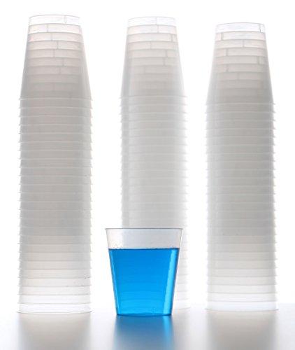 idea-station Kunststoff-Schnapsgläser einweg 2cl 80 Stück mit Füllstrich transparent bruchsicher ultra-flexibel und stapelbar Mini-Plastik-Becher als Schnaps Partybecher Medikamentenbecher geeignet