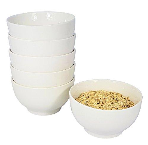Wellgro Müslischalen Set 6-tlg Weiss Weiß Schalen Müsli Schale Müslischüssel - Dessertschale - Schale - Schüssel Suppenschüssel 680 ml Müslischale Porzellan Müslischüssel