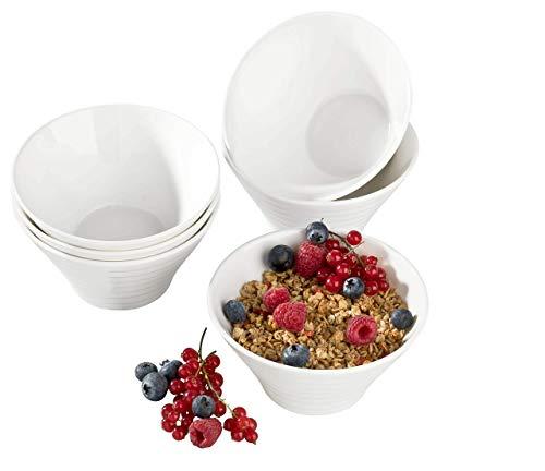 culibona Müslischalen Linea aus Porzellan Füllmenge 600 ml 6-teiliges Set Weiss Salatschale Dessertschale Snacks e-Book Granola Rezepte