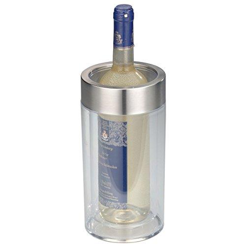 axentia Flaschenkühler transparent Behälter zum Kühlen von Wein Sekt Champagner oder Softdrinks Getränkekühler doppelwandig Maße ca Ø 12  x H 23 cm