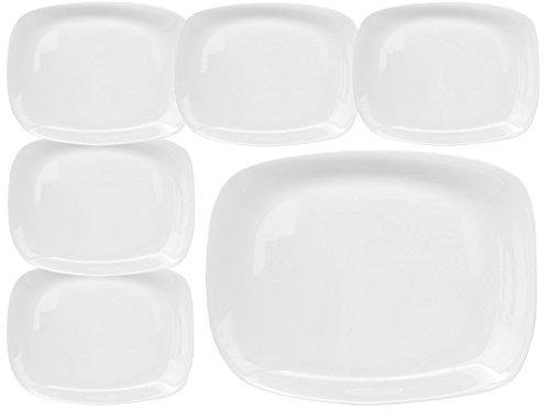 Bormioli Rocco PARMA 6er Set Servierplatte 325 x 240 x 23 mm Servierteller aus weißem Opalglas rechteckig zeitlos-elegantes Design