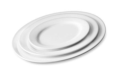 Servierteller MEDIUM Servierplatte Porzellan ovale Form 3 Größen 2er Set 295 x 21 x 2 cm