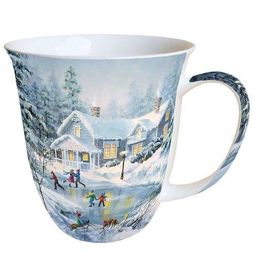 Ambiente Weihnachten Tasse Abend Skating Tasse 04 l Fine Bone China Porzellan Becher Bone China Mug Tasse Fuer Tee Oder Kaffee ca 04L Evening Skating -Ideal Als Geschenk