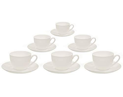 Buchensee Kaffeetassen Set aus Fine Bone China Porzellan 6 Kaffeetassen je 210ml und 6 Unterteller in fein-cremigem Weiß