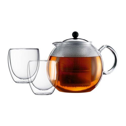 Bodum K1833-16 Assam Set Teebereiter 15 L mit 2 doppelwandigen Gläser 025 L