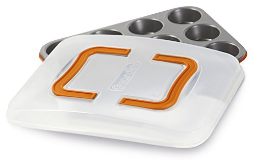 Guardini Bake Away Colors Backform Muffins mit Deckel für Transport Stahl Orange