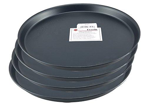 Pizzablech  Pizzaform  Pizza-Backblech rund unbeschichtet für Steinofen geeignet hitzefest bis 400° Gastronomie geeignet aus Blaublech geschmiedet von Turk 4er Set Durchmesser 32cm