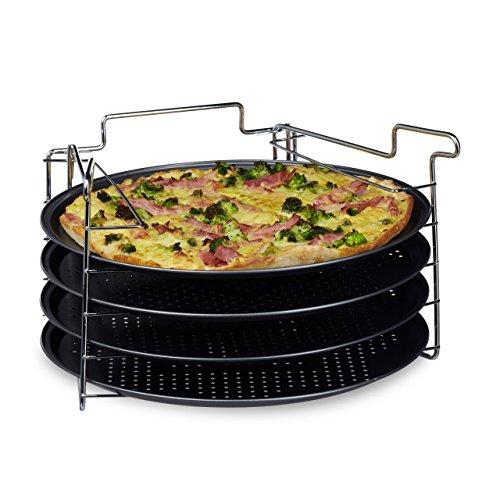 Relaxdays Pizzablech im 4er Set HBT 20 x 32 x 32 cm Pizzabäcker-Set mit 4 Backblechen und Ständer als Pizza-Backblech und Flammkuchen Blech rundes Pizzabackblech mit Antihaftbeschichtung anthrazit