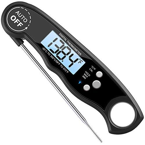 AMIR Küchenthermometer Grill Thermometer Bratenthermometer Fleischthermometer Wasserdichte Sofortige Lesen Kochen Thermometer mit Digital LCD-Bildschirm für Küche BBQ und Süßigkeiten Schwarz