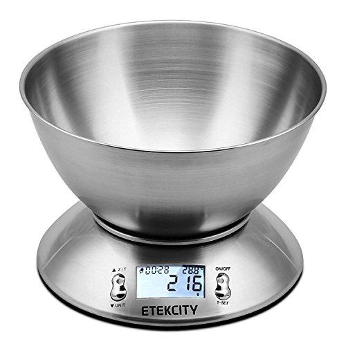 ETEKCITY 5KG Digitale Küchenwaage mit 215 Liter Abnehmbarer Schüssel Digitalwaage Elektronische Waage aus Edelstahl Raumtemperaturanzeige und Timer für Backen Kochen Silber