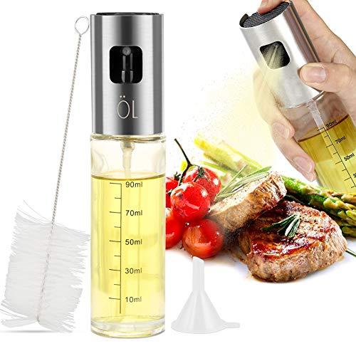 Vegena Öl Sprüher Flasche 100ml Ölsprüher Oil Sprayer Sprühflasche Olivenöl Sprayer Öl Glas Flasche Essig Spender für BBQ Kochen Pasta Salate Backen Braten Grillen
