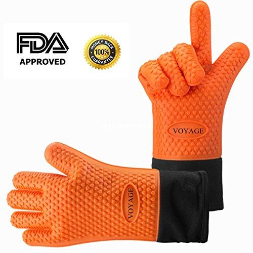 Voyage Premium Ofenhandschuhe 2er Set bis zu 500 °C - Silikon Extrem Hitzebeständige Grillhandschuhe BBQ Handschuhe zum Kochen Backen Barbecue Isolation Pads für Extreme Sicherheit Orange