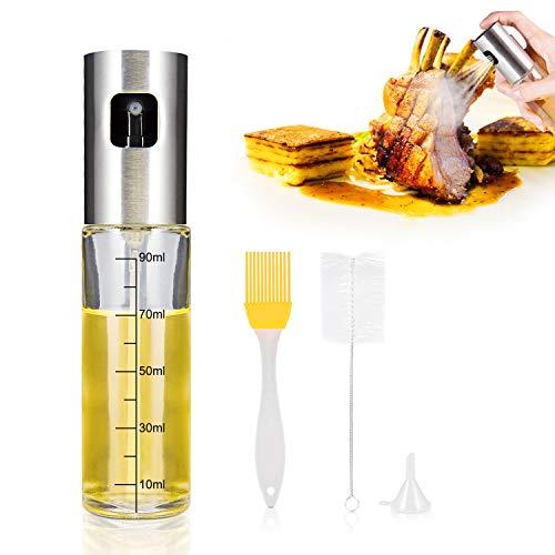 iTrunk Öl Sprüher Dispenser mit Einem Häkchen KennzeichenSogar Sprühen Öl Flaschen Sprühgerät Nachfüllbares Lebensmittelglas Olivenöl Sprühflasche zum KochenGrillSalatGrillen Braten mit Ölpinsel