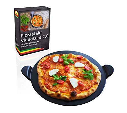 Esprevo Premium Pizzastein rund Ø 33cm  aus glasiertem Cordierit zur einfachen Reinigung  inklusive gratis Videokurs  für Backofen Grill