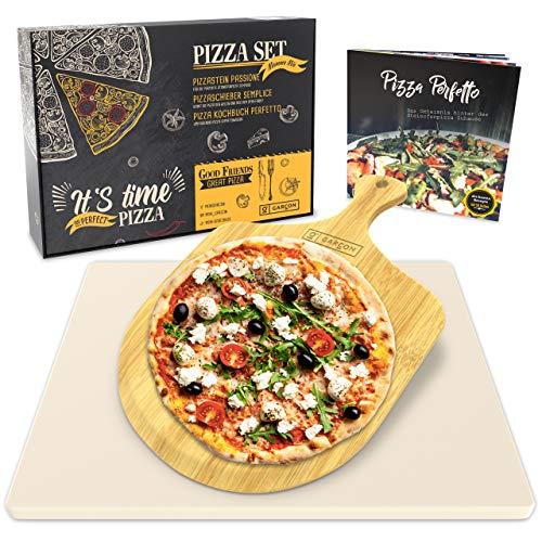 Garcon Pizzastein für Backofen und Gasgrill zum Pizza Backen - 3er Set inkl Pizzaschieber Kochbuch und Geschenk Box