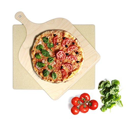 KLAGENA Pizzastein für Backofen und Grill set inkl Pizzaschaufel Brotbackstein-Set aus Cordierit 38x30x15 cm