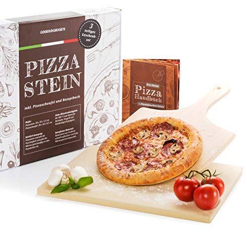 Pizzastein Set Deluxe - Brotbackstein aus Cordierit inkl Pizzaschaufel und Rezeptbuch