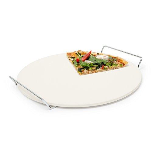 Relaxdays Pizzastein mit Halter runde Steinplatte für Pizza Flammkuchen Grillstein aus Cordierit 33 cm Ø beige