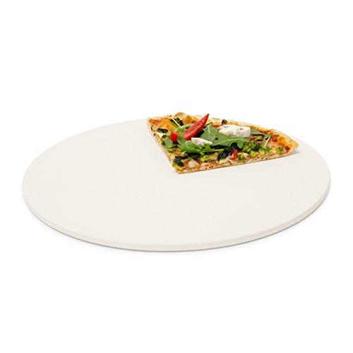 Relaxdays Pizzastein rund Steinplatte für Pizza Flammkuchen Backstein für Ofen Grill Cordierit 33 cm Ø beige