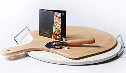 Wohlers Pizzastein Set  Pizzastein XXL 38cm  Schaufel  Pizzaschneider  GRATIS REZEPTHEFT Pizzastein Set