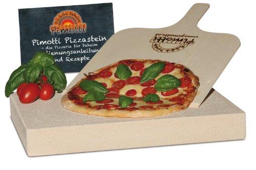 Pimotti 202_004 Schamott Pizzastein Brotbackstein 5cm mit Schaufel und Rezepten
