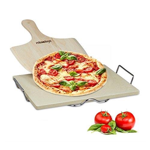 Relaxdays Pizzastein Set 15 cm Stärke mit Metallhalter und Pizzaschieber aus Holz HBT 15 x 38 x 30 cm rechteckiger Brotbackstein für Pizza und Flammkuchen mit Pizzaschaufel für Pizzaofen natur
