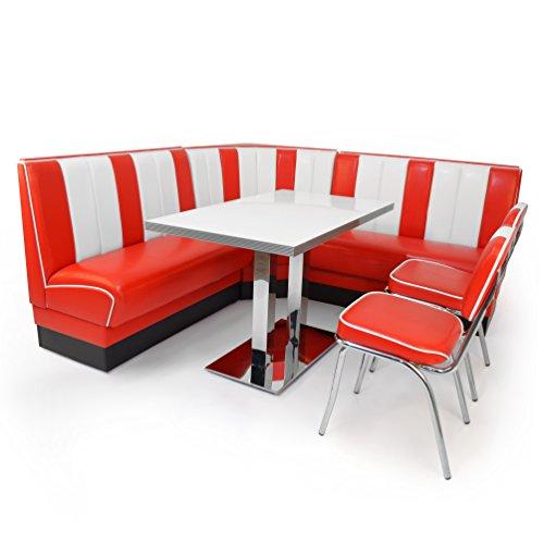 American Diner Set XXL 2x Dinerbank 120cm  Eckbank  Diner Tisch  2x Retro Stuhl