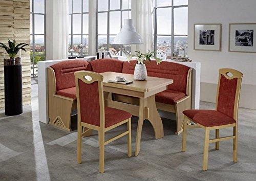 BeautyScouts Eckbankgruppe Austria Buche Natur Dekor Eckbank Tisch 2 Stühle rot meliert Set 4-teilig Truheneckbank Küche Esszimmer Landhaus