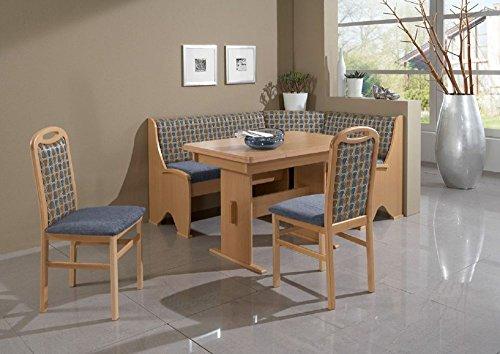 BeautyScouts Eckbankgruppe Blue Collar Buche Natur Dekor blau Set 4teilig Wangentisch Tisch Truheneckbank 2 Stühle Küche Esszimmer Landhaus