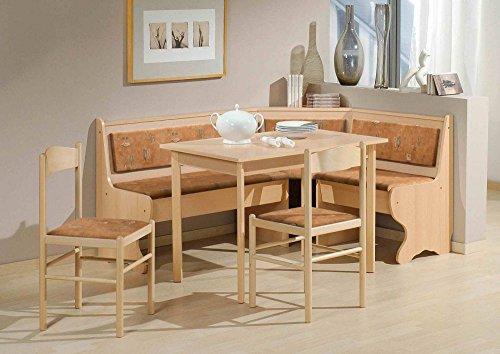 BeautyScouts Eckbankgruppe Munich Eckbank Tisch 2 Stühle Buche Dekor terracotta Microfaser 4-teiliges Set Truheneckbank Küche Esszimmer Landhaus