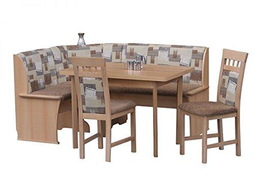 Eckbankgruppe Riedberg mit Truhe Buche Dekor 163x123 cm umstellbar bestehend aus Eckbank Tisch mit Auszug 2 Stühle