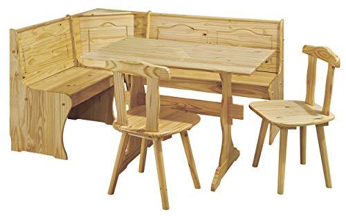 H24living Eckbankgruppe Eckbank Essgruppe Essecke Bank Sitzecken Tisch 2 Stühle Landhaus-Stil Küche Massivholz Truhenfächer Holz Kiefer Massiv 124-163 x 49 x 85 cm Natur