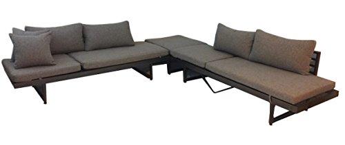 Ribelli Outdoor Lounge Set Gran Canaria- Loungemöbel Garnitur 3 teilig für Garten Terrasse - Loungeset in Anthrazit Grau - TischHocker Eckbank  2 Bänke
