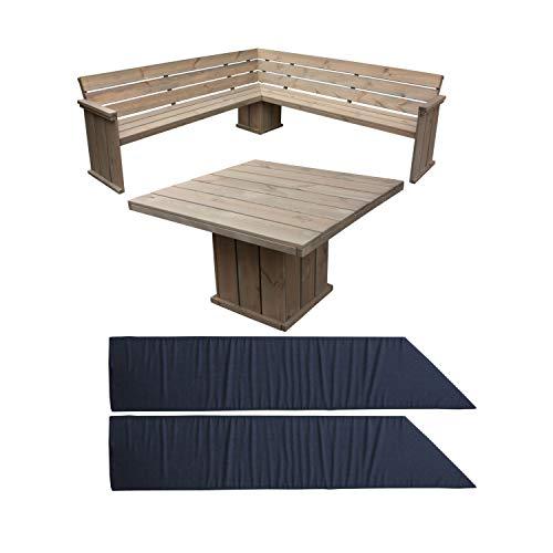 Rustikale Eckgruppe Toulouse aus Kiefernholz Holzbank Eckbank  Tisch  Auflage