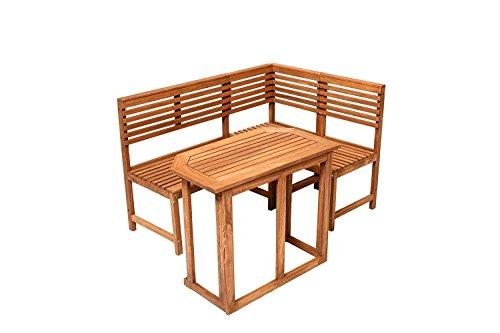 Saigon Eckbank mit Tisch Gartenbank Holzbank Sitzbank Bank Gartenmöbel Parkbank Sitzgarnitur 150100cm FSC 100 Eukalyptusholz