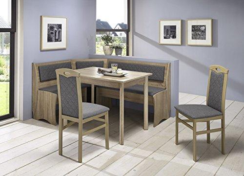Truhen-Eckbankgruppe Eiche Sonoma Sägerau Dekor bzw Buche massiv sonomafarbig Eckbank 2 Stühle und Vierfußtisch Bezug Rückenpolsterung mit Steppung Flachgewebe silber-grau variabel aufbaubar