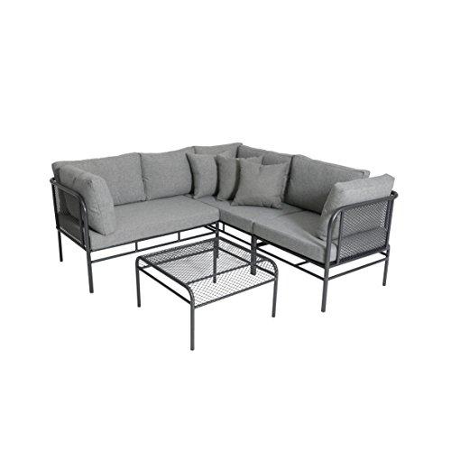 greemotion Loungeset Toulouse eisengraugrau Eckbank mit Tisch für In- und Outdoor Bank mit Rückenverstellung pflegeleichtes Streckmetallgestell Sitzelemente einfach umzustellen ca 5 Sitzplätze