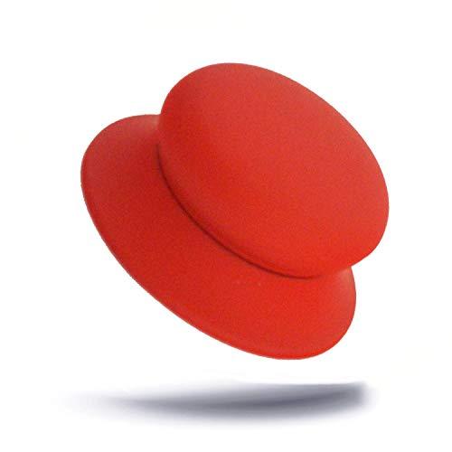 Kerafactum Deckelknopf Austausch Topf Griff Knauf Ersatzgriff für Topfdeckel Universalgriff silikoniert rot in Ø 65 cm Topfdeckelgriff Deckelgriff Ersatz für Pfannen Deckel 1 STÜCK