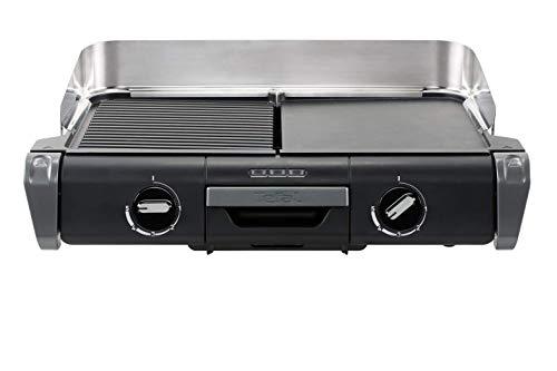 Tefal TG804D14 Elektrogrill BBQ Family Flavor 2 in 1 TischgrillGrill Thermostat verstellbar 2 Kochflächen 2400 W