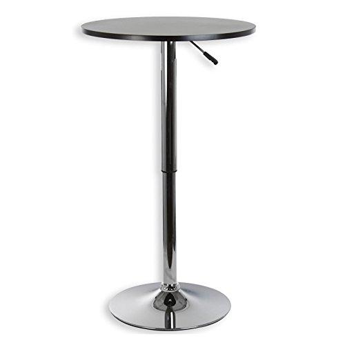 IDIMEX Bartisch Stehtisch Bistrotisch Beistelltisch Loungetisch VISTA höhenverstellbar schwarz