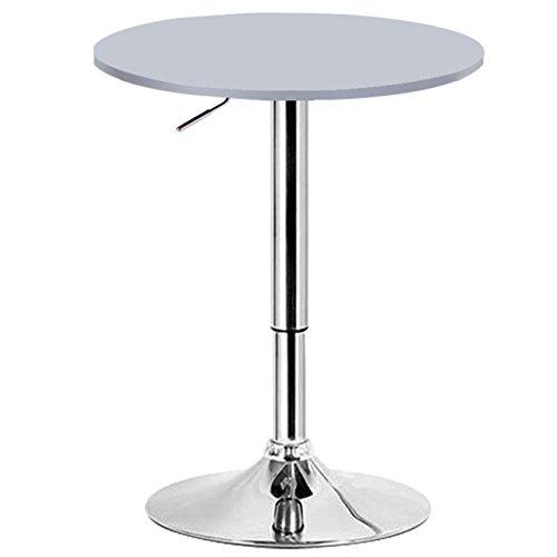 WOLTU BT02sb Bartisch Bistrotisch Design Tisch mit Trompetenfuß drehbare Tischplatte aus robustem MDF höhenverstellbar Gartentisch Dekor silber