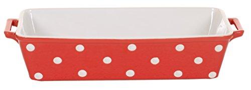 Isabelle Rose IR5508 - Keramik Auflaufform  Königskuchen Brot Form rot mit weißen Punkten polka dot