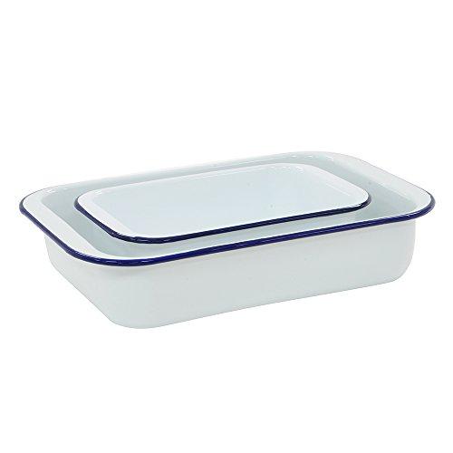 ProCook traditionelle Brat- und Auflaufform Ofenform Emaille weiß blau 2-teiliges Set