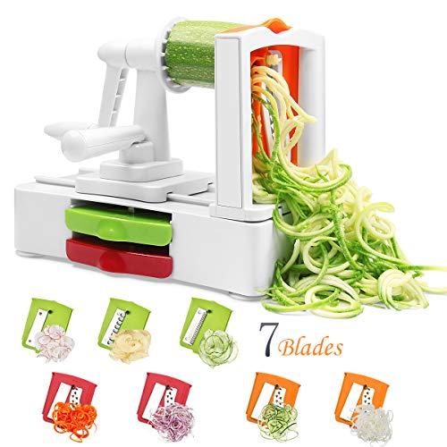 Corafei Spiralschneider Gemüse Spaghetti Spiral für KarotteGurkenKartoffelnZucchini Nudeln mit Auswechselbarer 7 Klingen