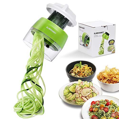 ELIRIVAWET Spiralschneider Hand für Gemüsespaghetti 4 in1 Gemüse Spiralschneider Gemüsehobel für Karotte Gurke KartoffelKürbis Zucchini Zwiebel