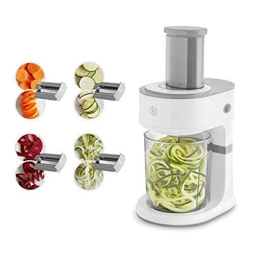 Elektrischer Spiralschneider und Scheibenschneider 4 Edelstahl-Schneideinsätzen Multischneider mit 8 Funktionen für Obst- und Gemüsespaghetti inkl praktischem Auffangbehälter