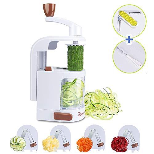 Premium Gemüsehobel Vertical Gemüse Spiralschneider mit 4 Klingen Rostfreiem Stahl Home Gemüseschneider Für Spaghetti Nudel ZucchiniKarotteGurken Mit einem Schäler und Reinigungsbürste