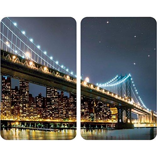 WENKO 2521320100 Herdabdeckplatte Universal Brooklyn Bridge - 2er Set für alle Herdarten Gehärtetes Glas 30 x 18-45 x 52 cm Mehrfarbig