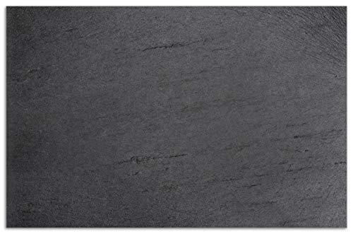 Wallario HerdabdeckplatteSpritzschutz aus Glas 1-teilig 80x52cm für Ceran- und Induktionsherde Motiv Schwarze Schiefertafel Optik – Steintafel