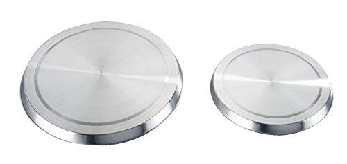 Wenko 2235504100 Herd-Abdeckplatte für Elektroherde - 4er Set Edelstahl rostfrei ø 16 x 2 cm ø 20 x 2 cm